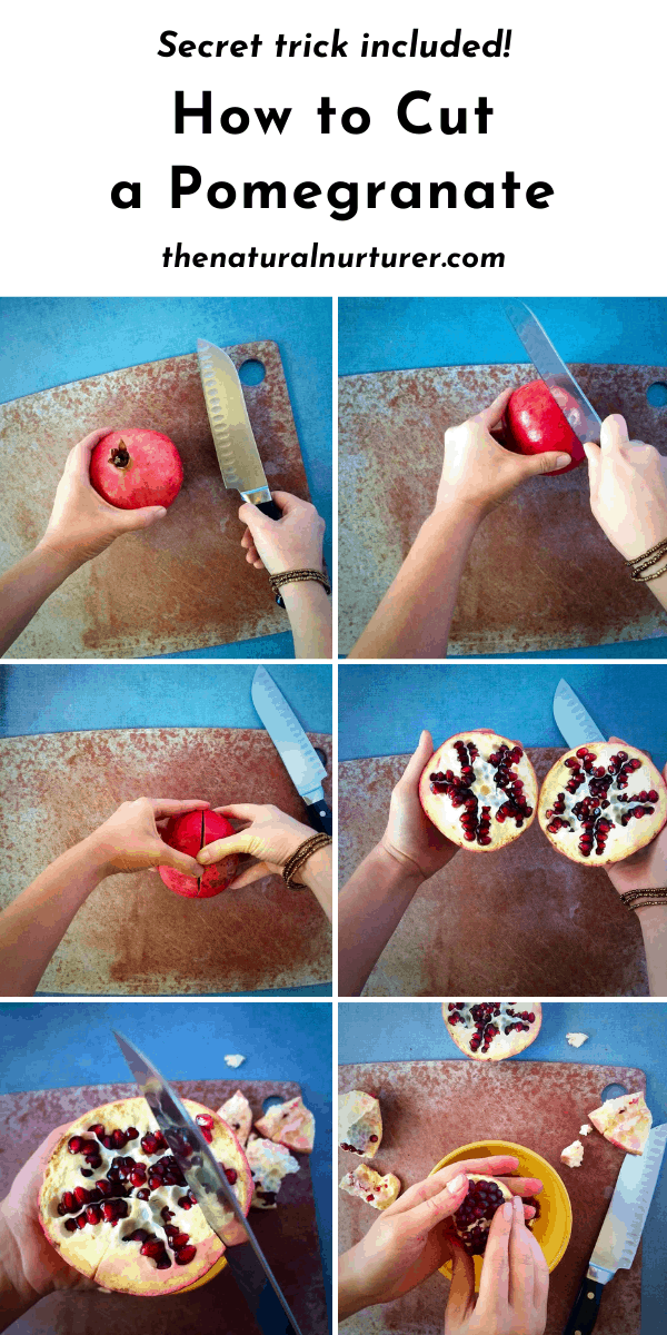 Simple steps showing how to cut a pomegranate from scratch