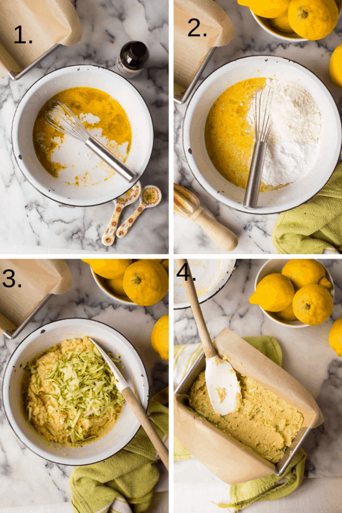 4 pictures showing how to make lemon zucchini bread