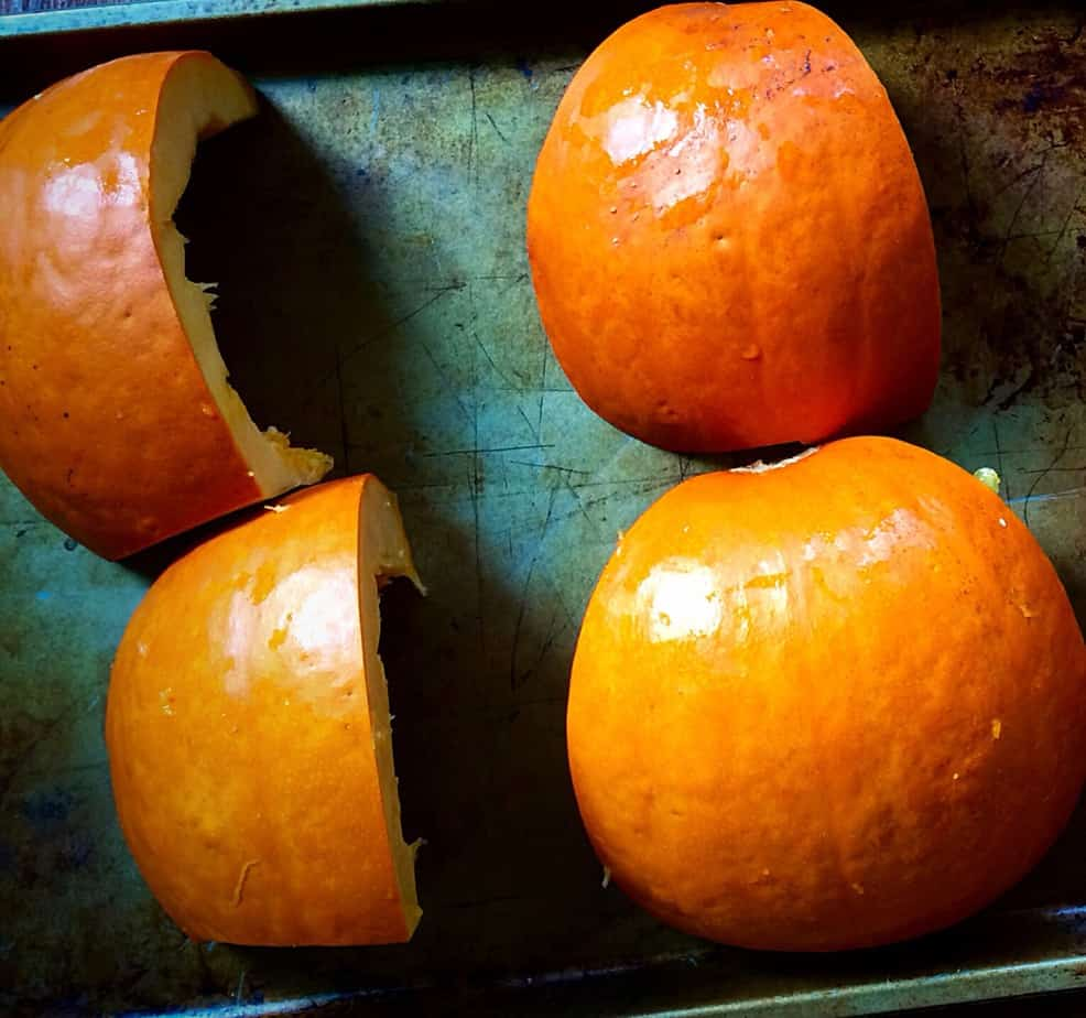 Roasing pumpkin at home in a big oven tray