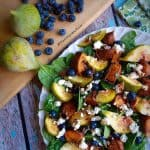 Blueberry, Roasted Sweet Potato, Spinach Fig Salad with Goat Cheese and Balsamic Reduction