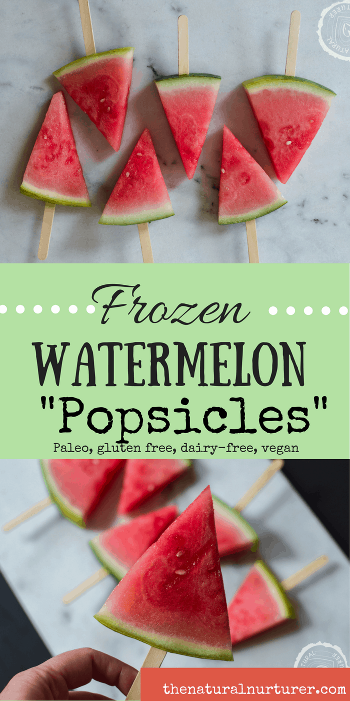 """Frozen Watermelon """"Popsicles"""" collage of two images with text overlay in the middle"""