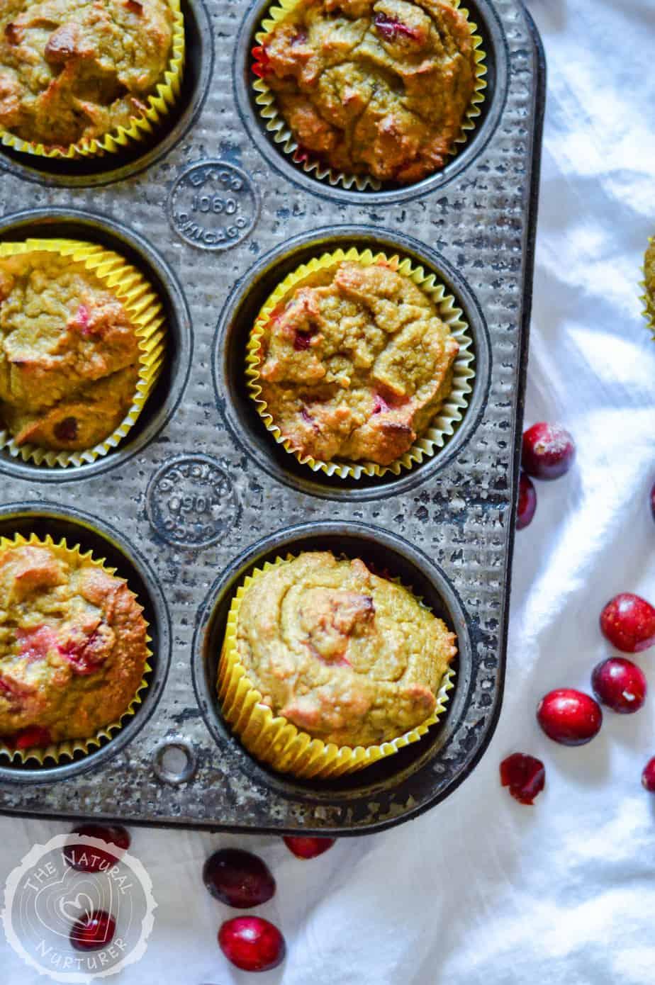 Grain-free Orange Cranberry Muffins in a tray