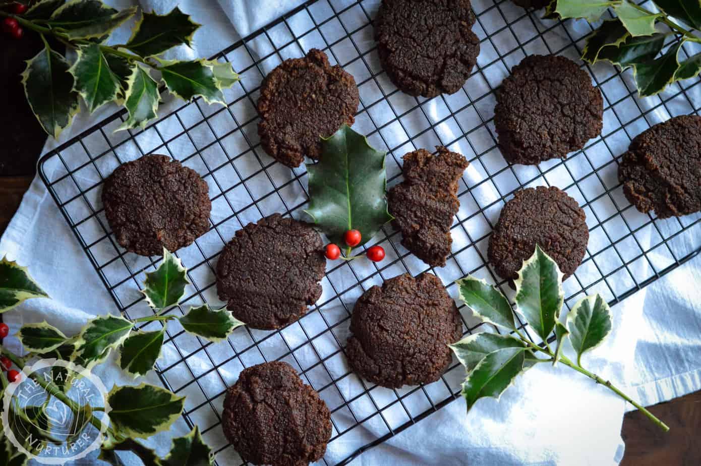 Plenty of grain-free gingerbread cookies on a baking wrack.