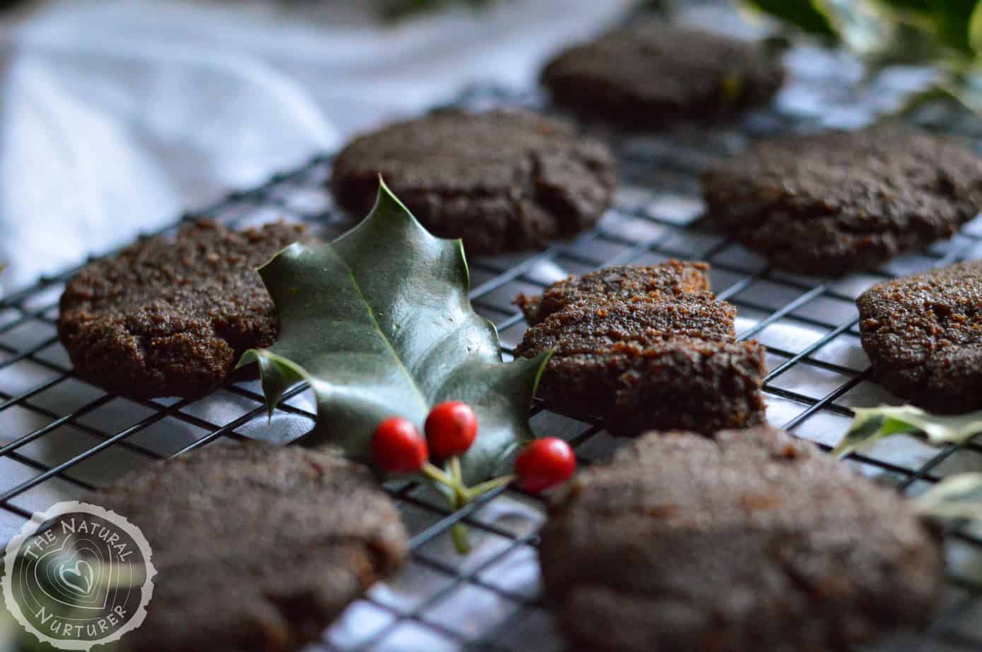 Amazingly inviting gingerbread cookies beautifully presented on a baking wrack.