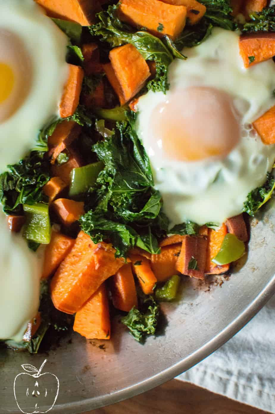 Closeup on One-Skillet Sweet Potato & Kale Fries prepared with fresh Eggs