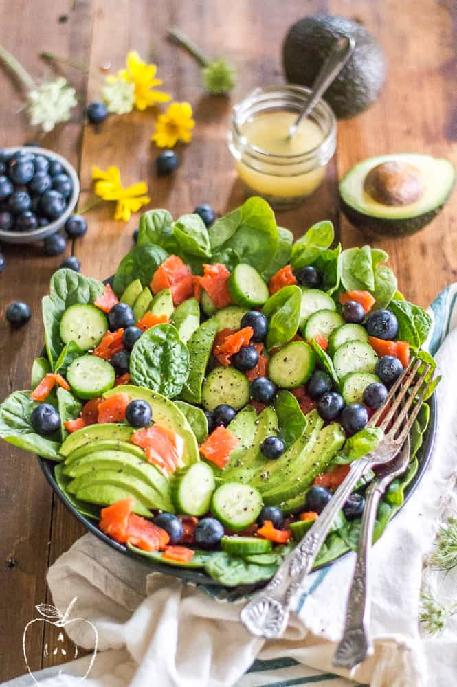 This Easy Smoked Salmon Salad is colorful, bursting with flavor and colors, and is the perfect no-cook side to any meal during the warmer months. The quick lemon dijon dressing brings this salad next level and is always a crowd pleaser!