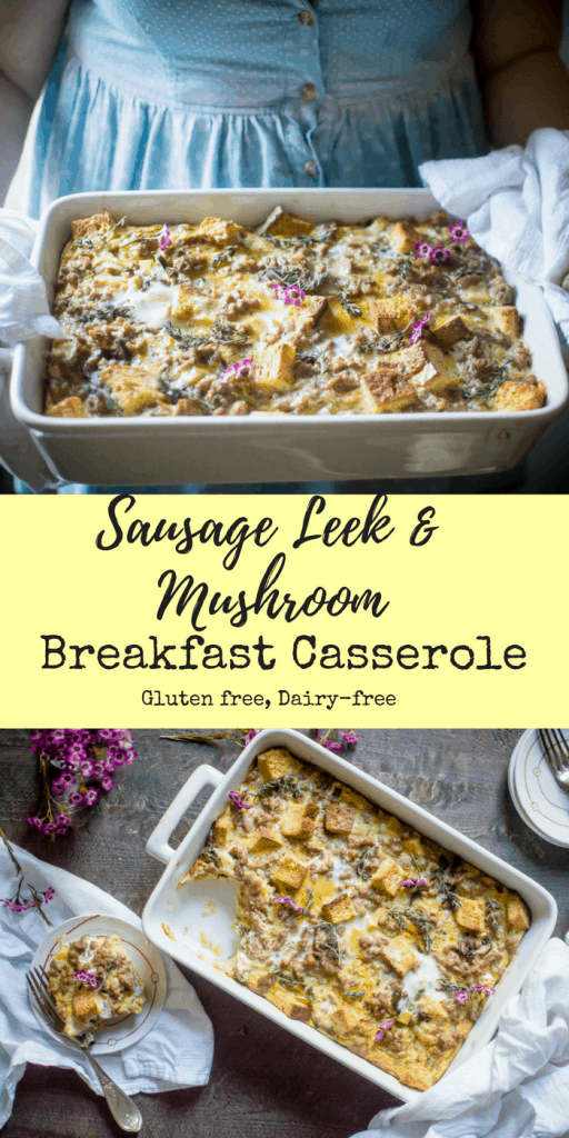 Sausage Leek & Mushroom Breakfast Casserole collage of two images and text overlay in the middle