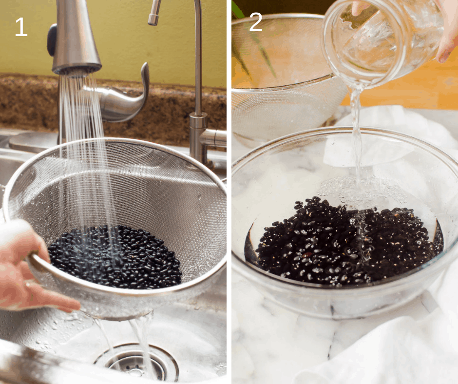 Washing black beans and letting them soak in water