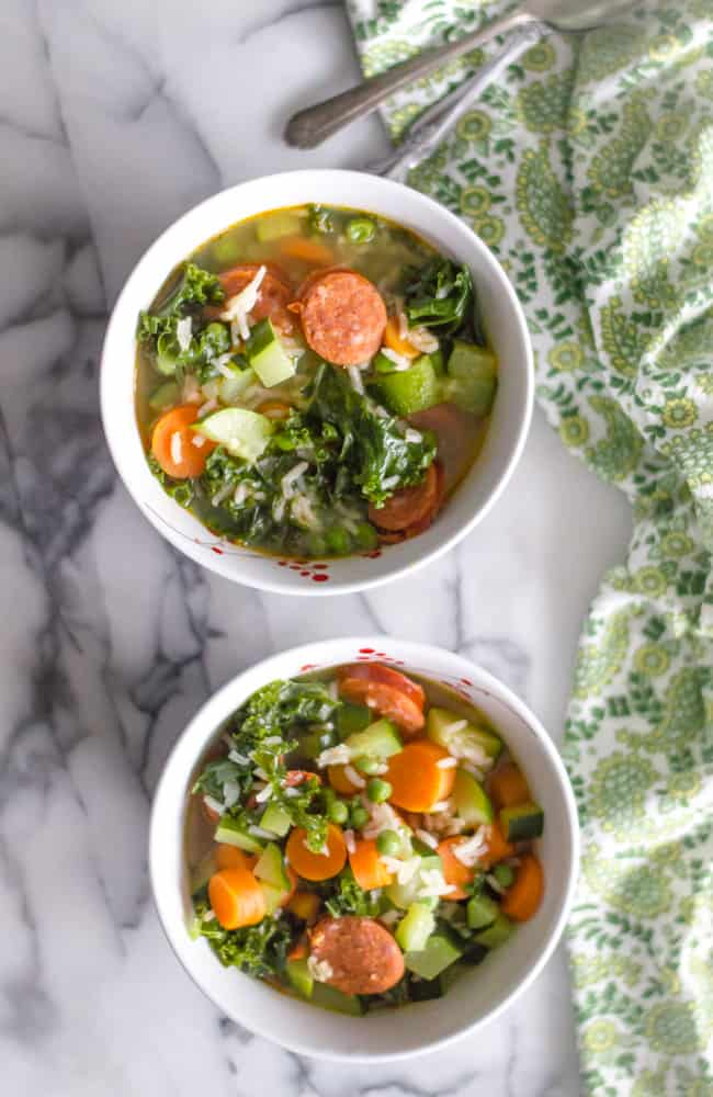 30-minute Sausage & Veggie Soup served in two bowls.