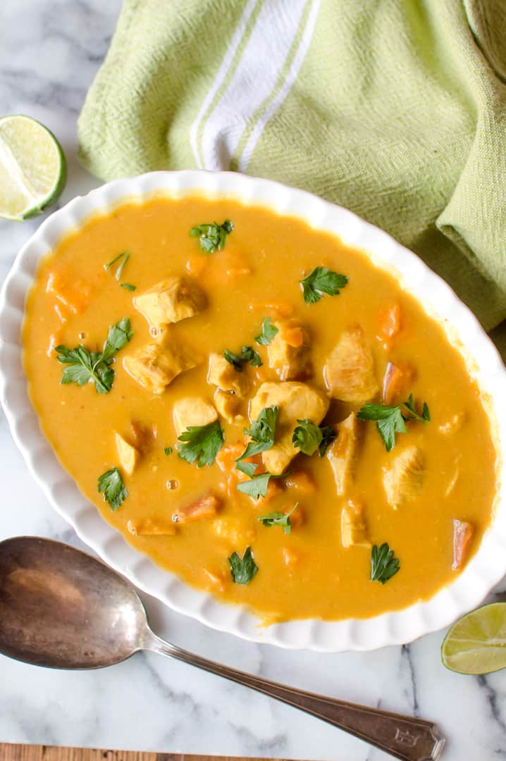 Closeup of the delicious Instant Pot Butternut Squash Chicken Curry - one of the most inviting veggie-loaded 30-minute meals.