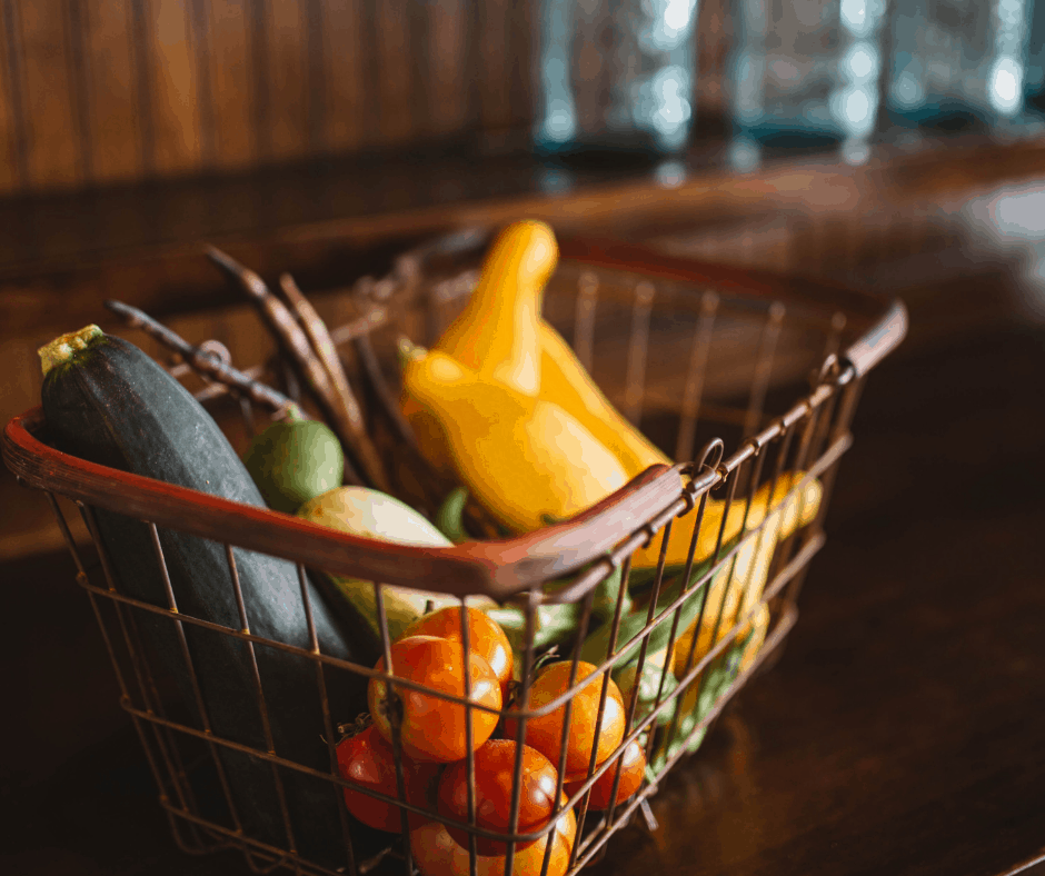 a basket of vegetables on a counter