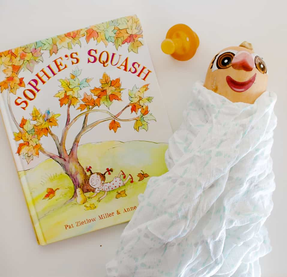 Book Sophie's Squash with a squash next to it painted to look like a doll.