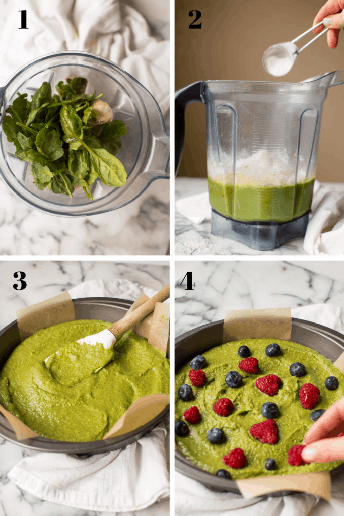 Step-by-step for making banana-spinach pancake pizza. Gluten free and dairy-free