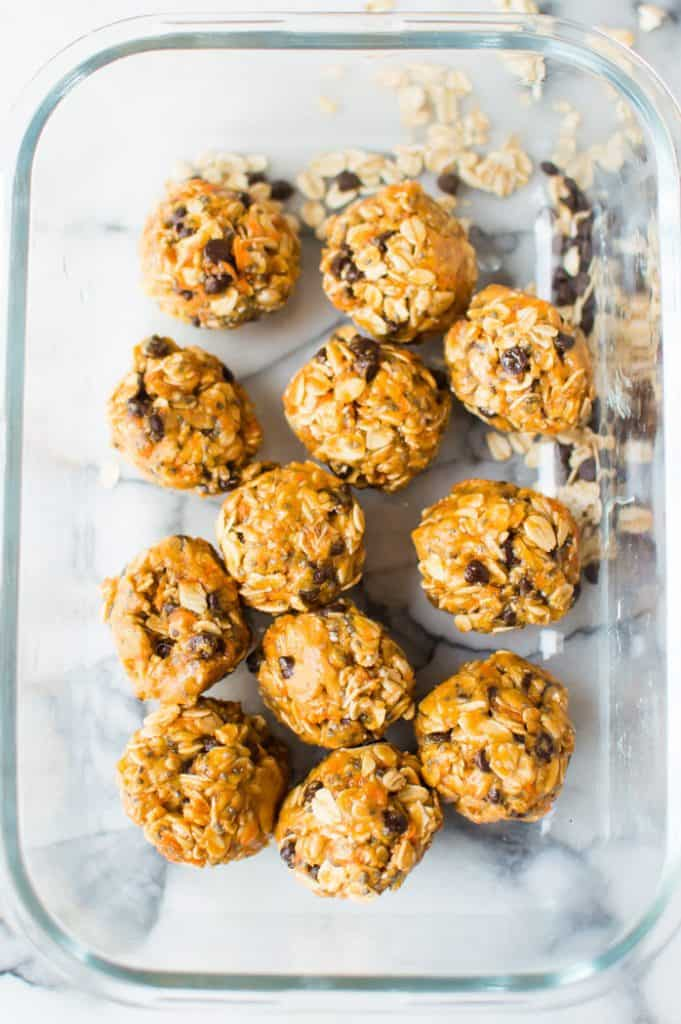 These No-Bake Peanut Butter Carrot Balls are easy, delicious, and veggie-loaded! Gluten free, dairy free, vegan and super easy to throw together. Bite-sized and made from healthy real food ingredients, this is a treat everyone will love!