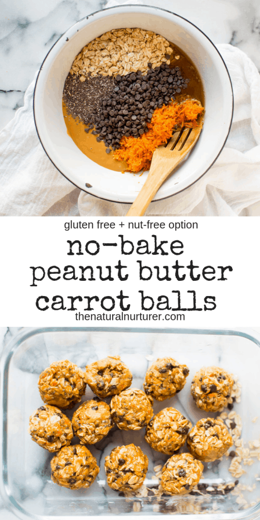 These No-Bake Peanut Butter Carrot Balls are easy, delicious, and veggie-loaded! #Glutenfreetreat #healthydessert #nobakedessert #nobakesnack #dairyfreedessert, #naturallysweetened