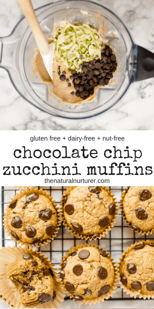 These Chocolate Chip Zucchini Muffins are silly easy to make in your blender and beyond delicious. Loaded with veggies and studded with chocolate. #glutenfree #dairyfree #nutfree #healthymuffin #veggieloaded #hiddenveggies