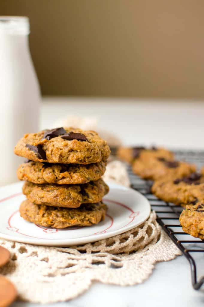 These healthy flourless peanut butter carrot zucchini cookies are soft, perfectly sweet and so easy to make! Made with only 7 ingredient and in one bowl, these cookies are vegan, gluten free and can easily be made Paleo.
