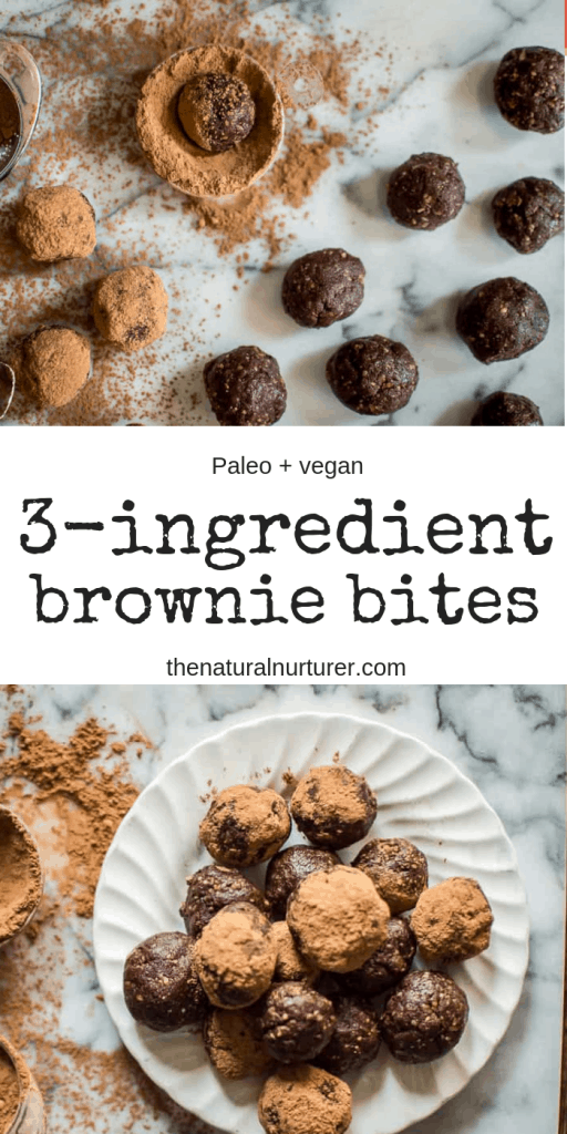 These 3-Ingredient Brownie Bites are made with simple, healthy and real foods. Easy, made in minutes and require no baking! #Paleo #vegan #nobake #healthydessert