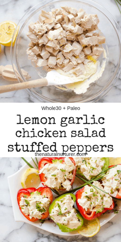 These Lemon Garlic Chicken Stuffed Peppers are easy, loaded with flavor, and are so delicious! A simple healthy no-cook meal for summer and are Paleo, Whole30 and gluten free