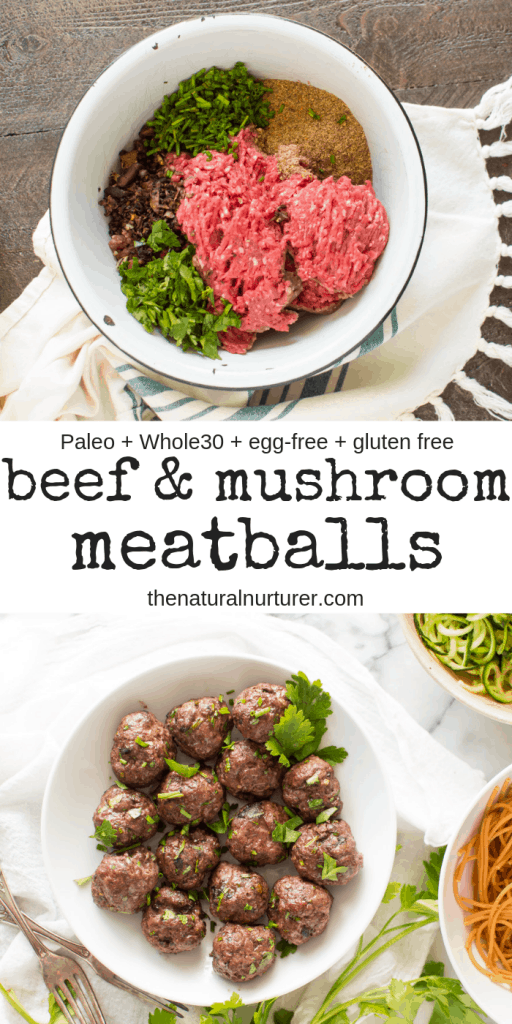 These beef and mushroom meatballs are easy, quick and sure to become a household favorite! Full of flavor, yet made with just 7 ingredients, they are Whole30, Paleo, gluten free, egg-free, and dairy-free. #whole30 #veggieloaded #whole30recipes #paleo #eggfree #glutenfree