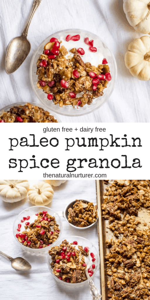 Paleo Pumpkin Spice Granola is a great make-ahead breakfast that brings the warm flavors of the season to the table in a protein-packed dish! #paleo #glutenfree #dairyfree #healthybreakfast #easybreakfast