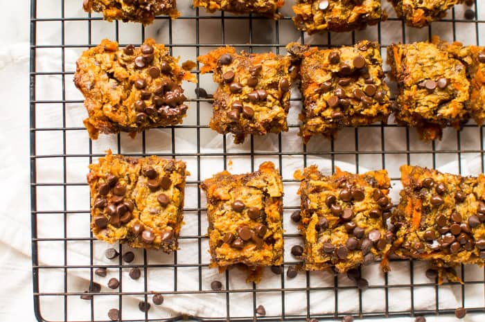 These One-Bowl Peanut Butter Carrot Blondies are rich, super fudgy, and seriously delicious! Made with just 8 real food ingredients and in one bowl, too boot! Egg free, vegan, gluten free, dairy free, but a total crowd pleasing treat for all eating styles!