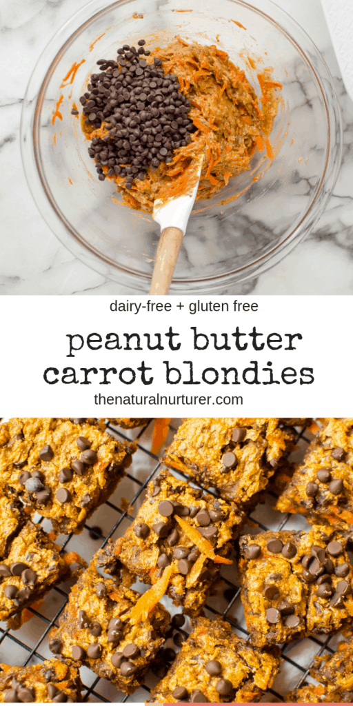 These One-Bowl Peanut Butter Carrot Blondies are rich, super fudgy, and seriously delicious! #vegan #vegandessert #glutenfree #eggfree #dairyfree #veggieloaded #healthydessert