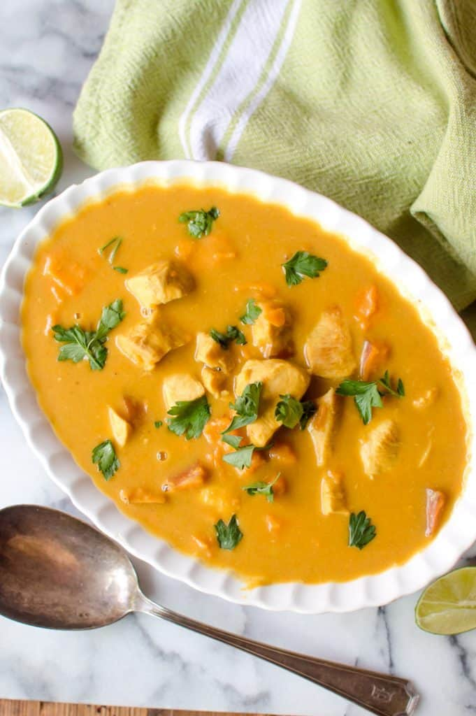 Super fast to make, veggie-loaded and full of warm flavors, Slow Cooker/Instant Pot Butternut Squash Chicken Curry is the perfect dinner any night of the week! Heavenly over cauliflower rice, jasmine rice or completely on its own, this dinner will dazzle your tastebud while saving you time in the kitchen.