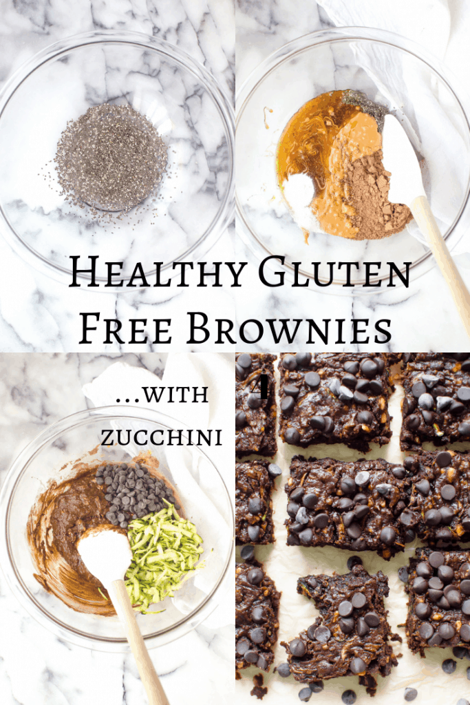 these Healthy Gluten Free Brownies (with zucchini) are so fudgy, chocolatey and delicious that no one will ever suspect that they're healthy! Vegan and flourless with Paleo option! #healthydessert #glutenfreedessert #hiddenveggies
