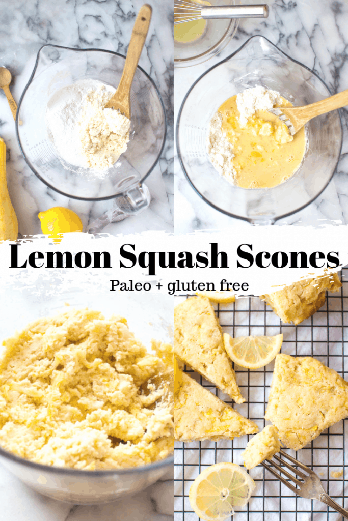 These Paleo Lemon Squash Scones are so delicious! Easy to make, delicious, amazing texture, bright with lemon and hidden veggies. #healthyscones #paleoscones #healthybreakfast #veggieloaded
