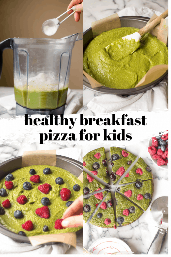 This healthy breakfast pizza for kids is an easy and delicious way to start your day! Loaded with veggies and naturally sweetened with fruit #healthykidbreakfast #healthytoddlerbreakfast #hiddenveggierecipes #breakfastpizza #glutenfree