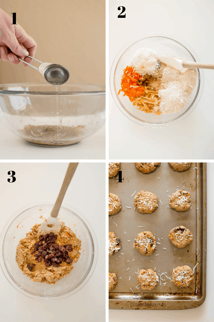 Morning Glory Breakfast Cookies recipe steps demonstrated in a collage of four images with a number on top of each