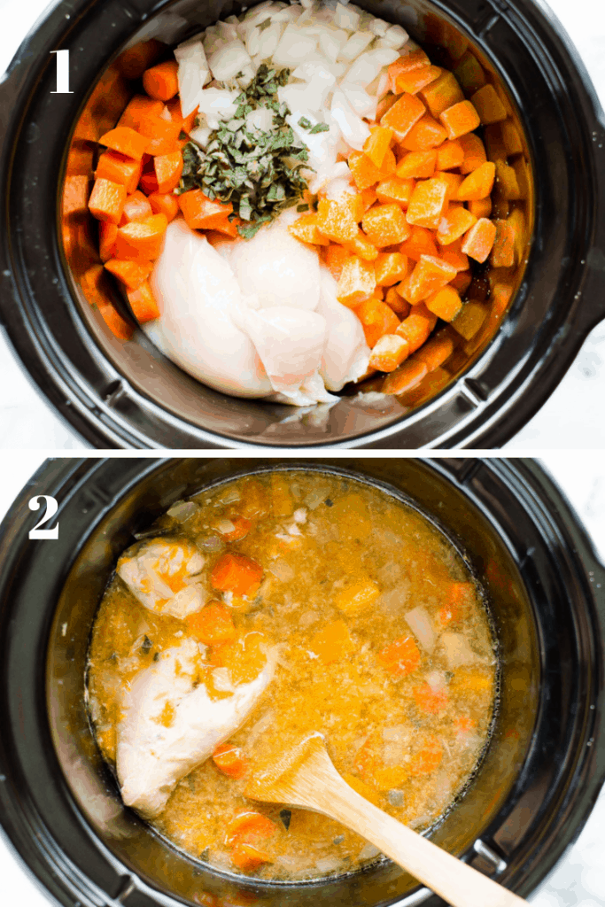 Two-image collage showing all ingredients in a slow cooker before cooking and then after with a wooden spatula inside the slow cooker