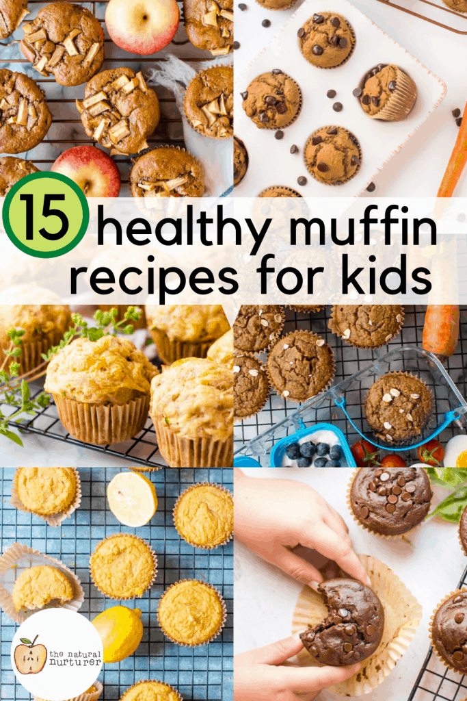 15 healthy muffin recipes for kids collage of six images with text overlay