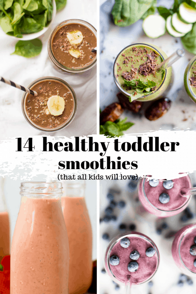 These veggie-loaded healthy toddler smoothies are easy, delicious and perfect for kids (and adults) of all ages! They are quick to blend up and make for a perfect healthy breakfast or quick snack! #toddlerbreakfastideas #healthytooddlerfood #healthykids #veggieloaded