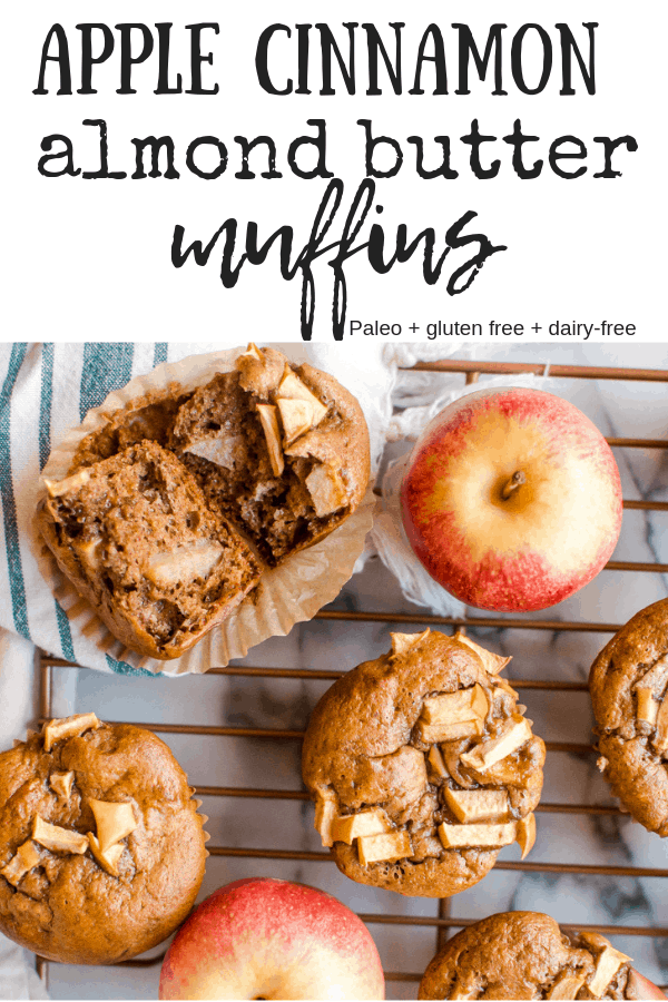 Apple Cinnamon Almond Butter Muffins are naturally sweetened and serve up some serious healthy fat and protein. #Paleo #glutenfree #dairyfree