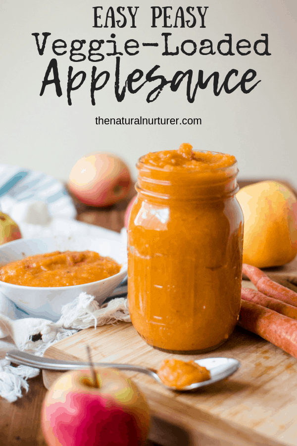 Deliciously kid-approved, full of warm fall flavors and easy peasy, Easy Peasy Veggie-Loaded Applesauce is going to change the snacking game in your house. #vegan #glutenfree #paleo #plantbased #healthykids #healthysnacks #veggieloaded