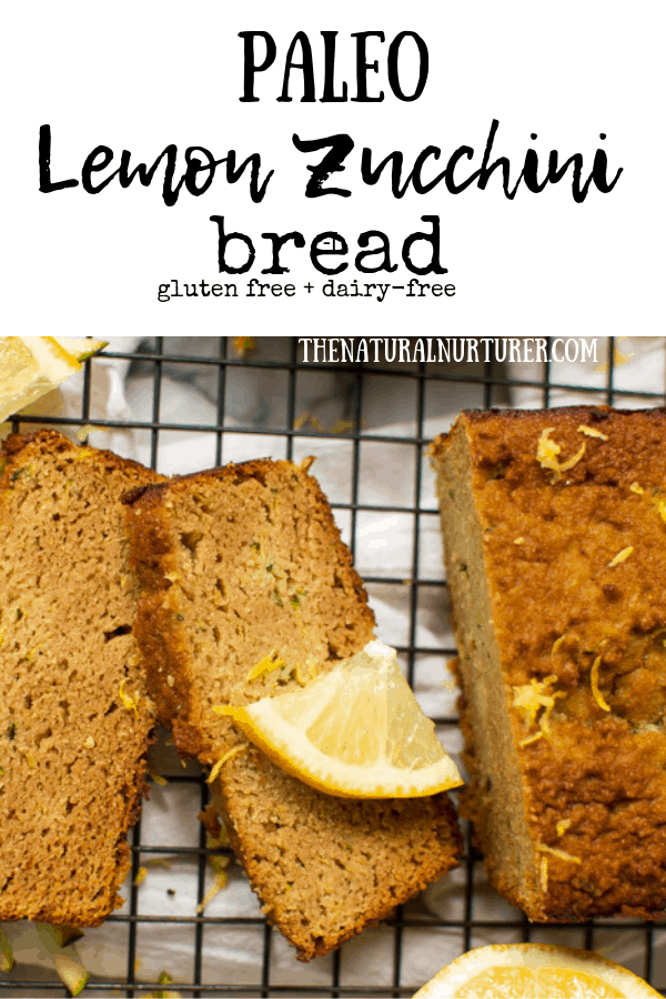 This Paleo lemon zucchini bread is perfectly moist, packed with zucchini and the perfect balance of sweet and tangy! #glutenfree #paleo #paleobaking #dairyfree #glutenfreebaking