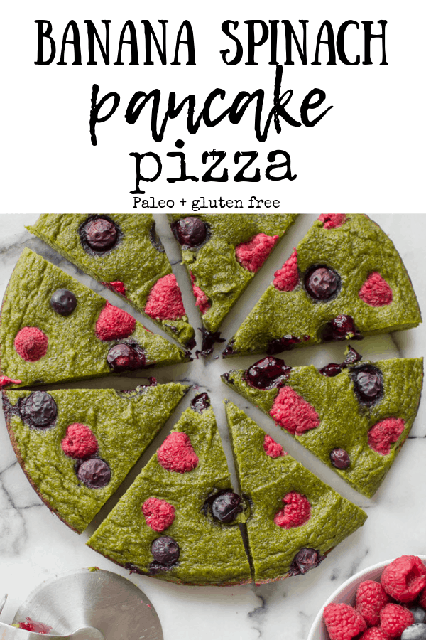 This Banana Spinach Pancake Pizza is a fun, healthy, easy and delicious breakfast to surprise your family with! #healthybreakfast #glutenfreepancakes #paleopizza #veggieloaded