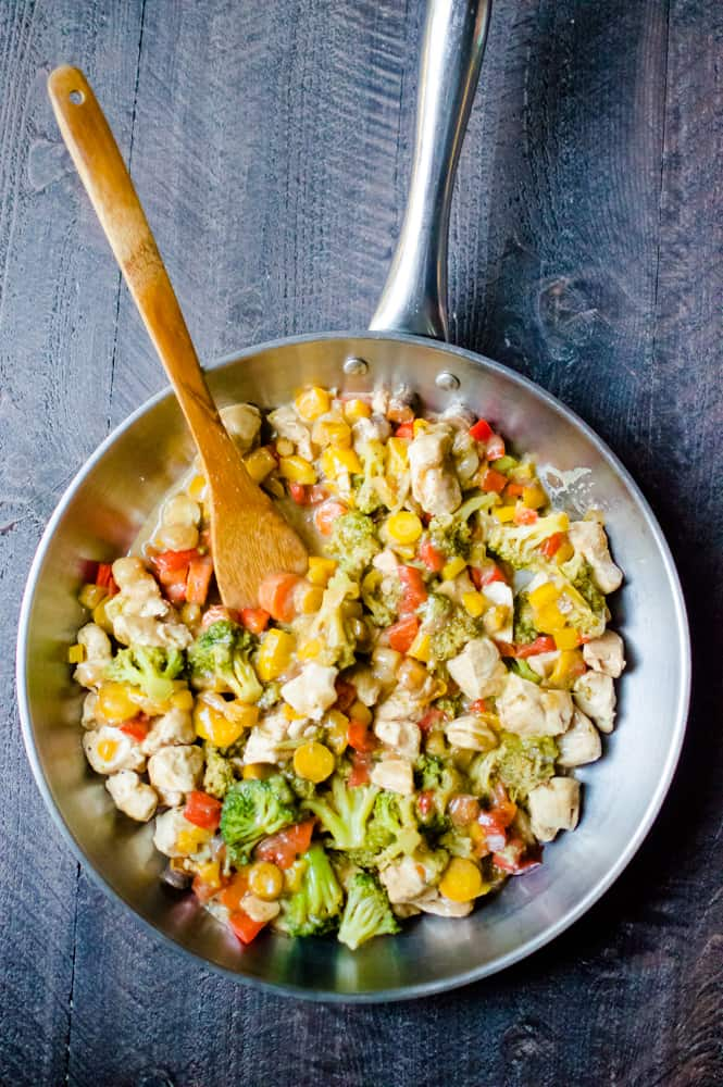 This healthy one-skillet Teriyaki  Chicken & Veggie Stir Fry is a healthy version of the classic dish. Super easy to make and so flavorful!  It's gluten free, dairy free, Whole30, Paleo and sweetened with a few dates.