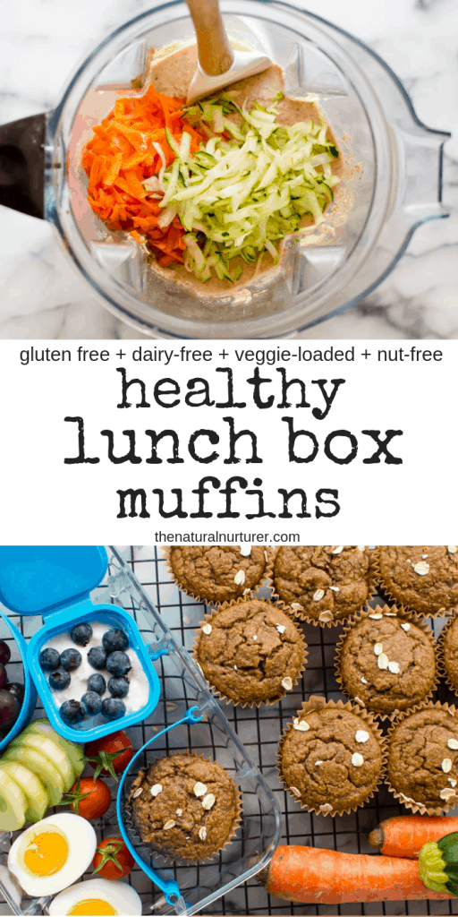 These healthy lunch box muffins are super easy to make and add so much goodness to any meal or snack! Naturally gluten free, packed with vegetables and naturally sweetened, they can easily be made nut free, dairy-free and egg-free. #healthylunchbox #healthykids #healthykidrecipes #nutfreekidrecipes #healthymuffinrecipes