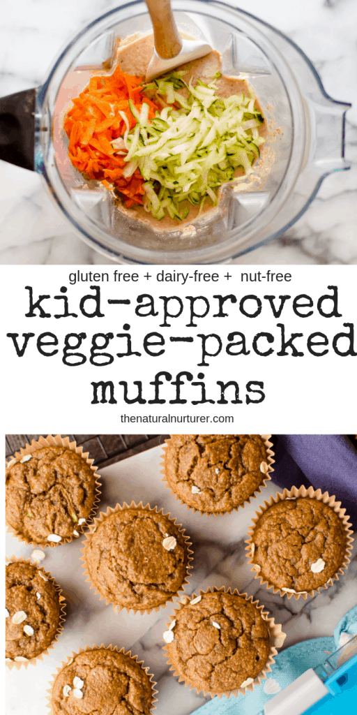 These healthy muffins are super easy to make, kid-approved and add so much goodness to any meal or snack! Naturally gluten free, packed with vegetables and naturally sweetened, they can easily be made nut free, dairy-free and egg-free.  #healthykids #healthylmuffins #kidapproved #nutfreekidrecipes #healthymuffinrecipes