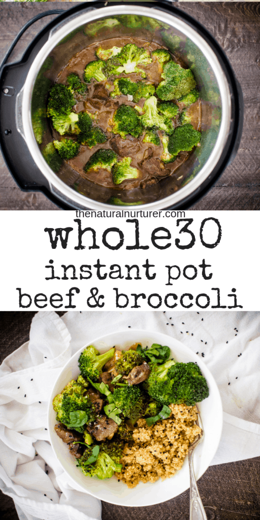 Whole30 Instant Pot Beef & Broccoli is an easy dinner that is quick and family-friendly dinner! #whole30recipes #whole30instantpot #easywhole30recipes