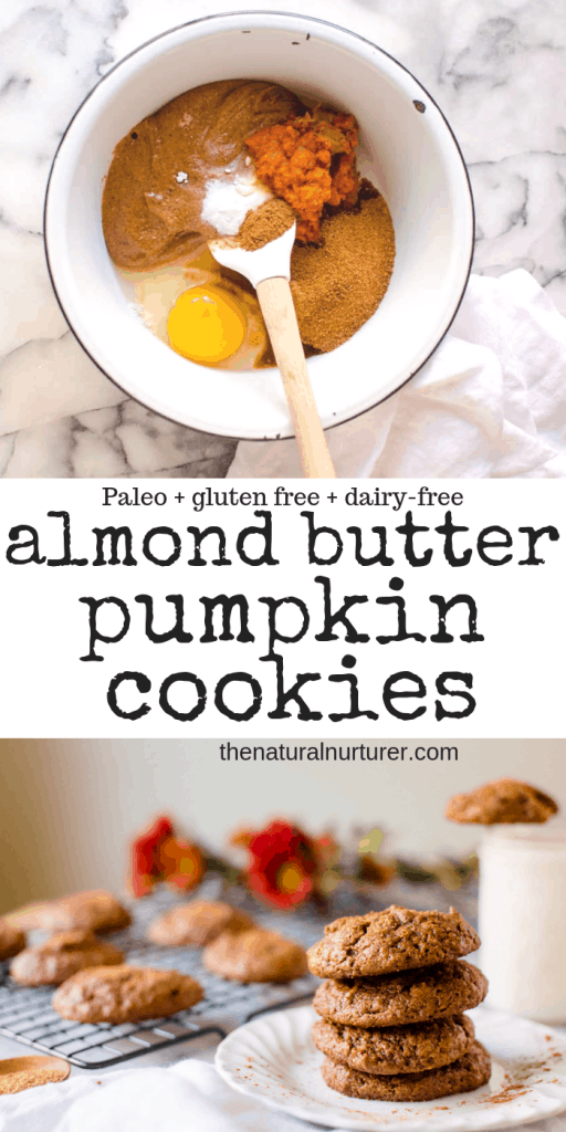 These Paleo Almond Butter Pumpkin Cookies are going to be your healthy fall baking obsession! Easy to make and so delicious #hiddenveggies #paleocookies #paleopumpkinrecipes