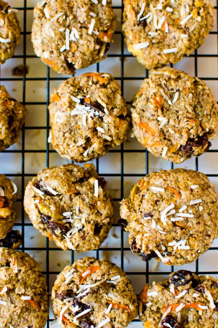 Overhead on the healthy and delicious Morning Glory Breakfast Cookies that are served straight out of the oven and looking absolutely inviting
