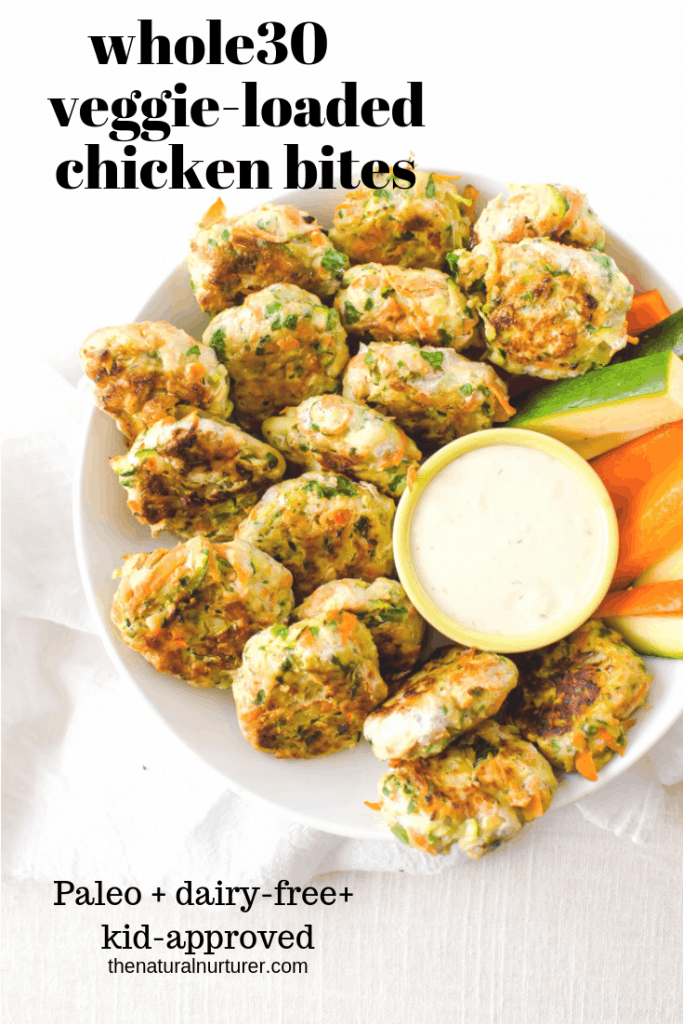 These Whole30 veggie-loaded chicken bites aren't just easy to make, but they are super delicious and a healthy start to dinner! #whole30recipes #whole30dinner #whole30familyrecipes