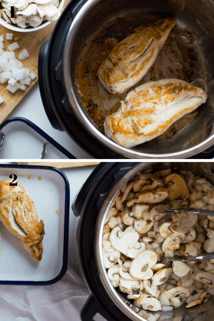 A 2 step process shot of browning chicken in the Instant pot followed by the removal of chicken and cooking mushrooms in Instant Pot
