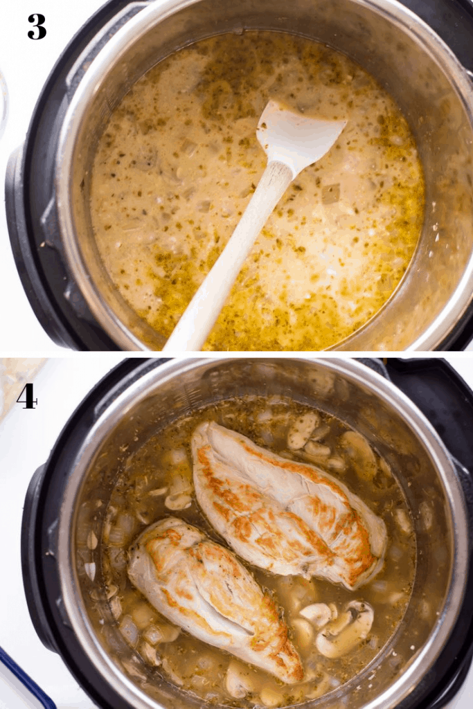 a 2 step process shot of adding broth to deglaze the Instant Pot stainless steel liner with a large spoon and then an image showing the addition of the browned chicken breasts back into the Instant Pot