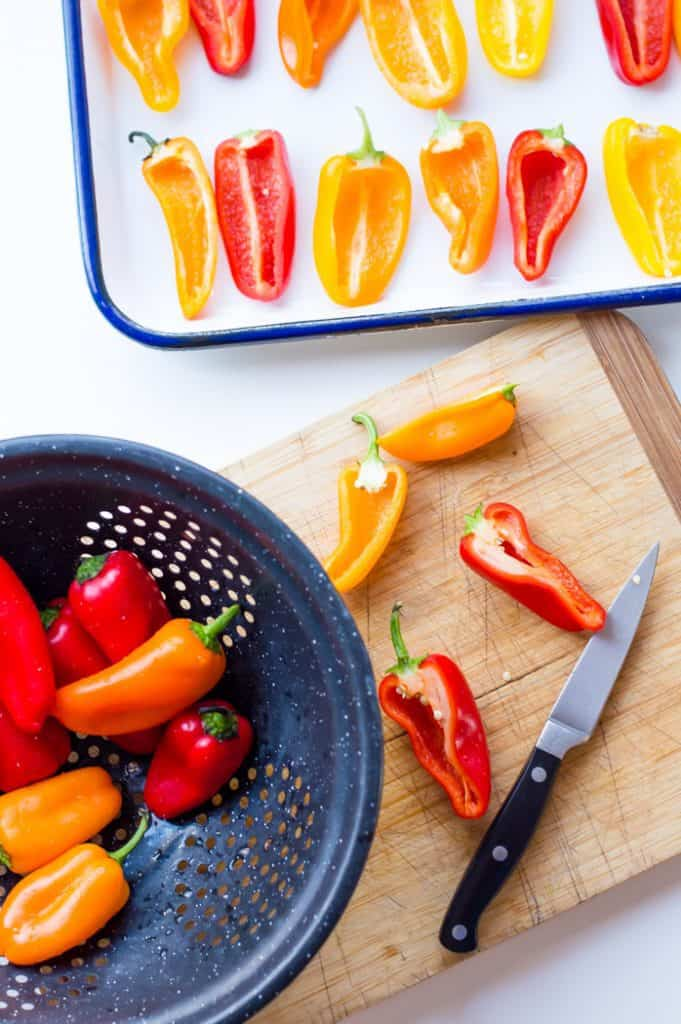 clean peppers on a cutting board