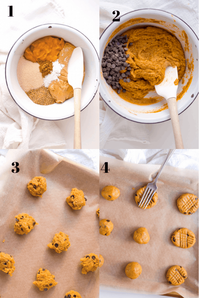 a how-to chart of how to make vegan peanut butter cookies